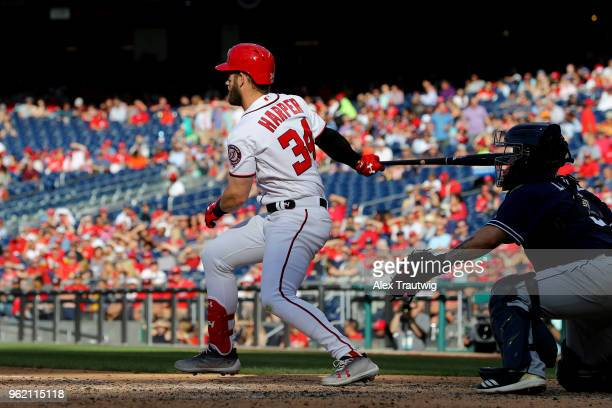 Bryce Harper of the Washington Nationals bats during a game against the San Diego Padres at Nationals Park on Wednesday May 23 2018 in Washington DC