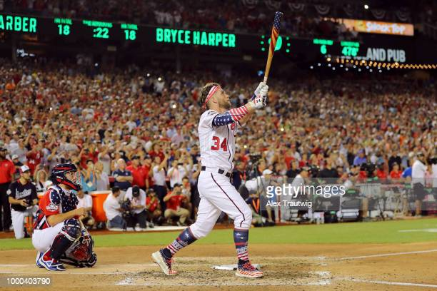 Bryce Harper of the Washington Nationals bats during the final round during the TMobile Home Run Derby at Nationals Park on Monday July 16 2018 in...