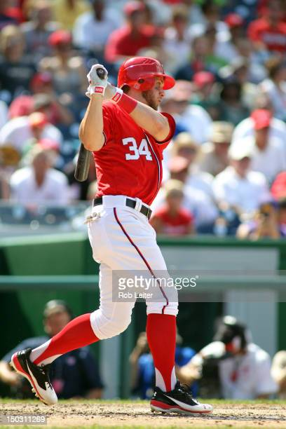 Bryce Harper of the Washington Nationals bats during the game against the Miami Marlins at Nationals Park on August 5 2012 in Washington DC The...