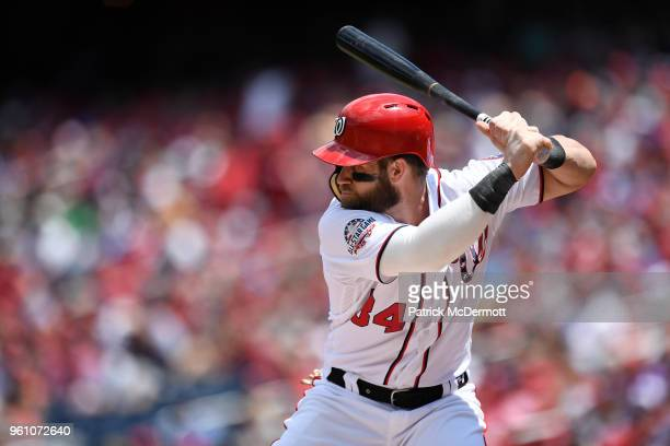 Bryce Harper of the Washington Nationals bats in the first inning against the Los Angeles Dodgers at Nationals Park on May 20 2018 in Washington DC