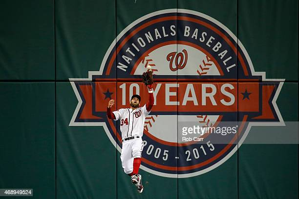 Bryce Harper of the Washington Nationals catches a ball hit by David Wright of the New York Mets for an out in the first inning at Nationals Park on...