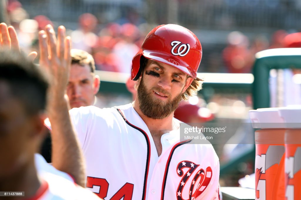 Bryce Harper #34 of the Washington Nationals celebrates a scoring a run in the eight inning during a baseball game against the Atlanta Braves at Nationals Park on July 9, 2017 in Washington, DC. The Nationals won 10-5.