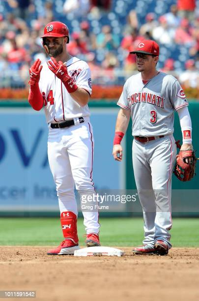 Bryce Harper of the Washington Nationals celebrates after hitting a double in the third inning against the Cincinnati Reds at Nationals Park on...