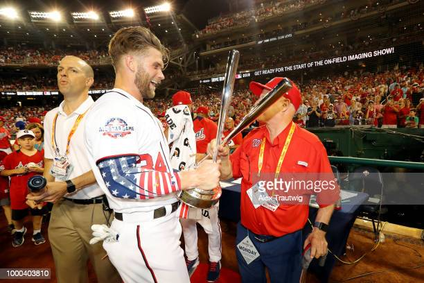 Bryce Harper of the Washington Nationals celebrates winning the TMobile Home Run Derby at Nationals Park on Monday July 16 2018 in Washington DC