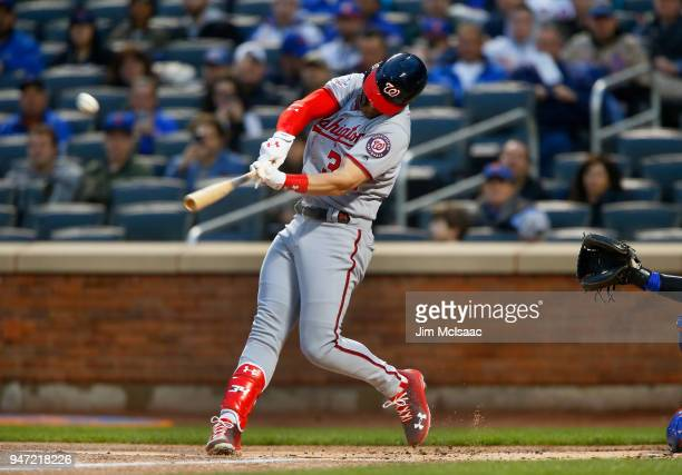 Bryce Harper of the Washington Nationals connects on a first inning broken bat home run against the New York Mets at Citi Field on April 16 2018 in...