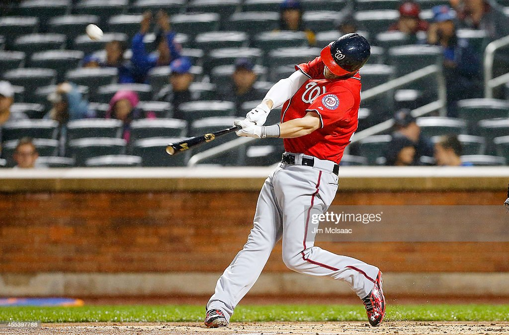 Bryce Harper #34 of the Washington Nationals connects on a second inning two run home run against the New York Mets at Citi Field on September 13, 2014 in the Flushing neighborhood of the Queens borough of New York City.