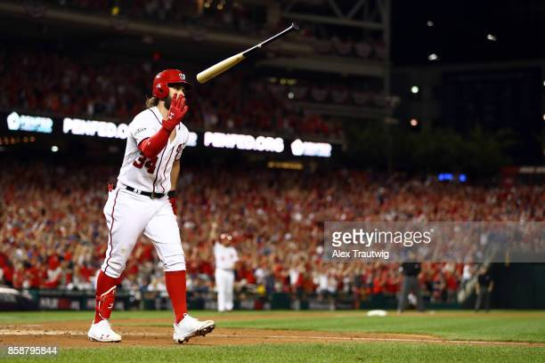 Bryce Harper Of The Washington Nationals Flips His Bat After Hitting An Eighth Inning Tworun Home