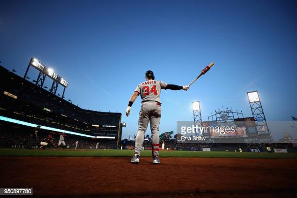 Bryce Harper of the Washington Nationals gets ready to bat against the San Francisco Giants at ATT Park on April 23 2018 in San Francisco California