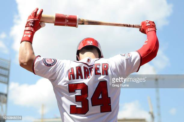 Bryce Harper of the Washington Nationals gets ready to bat in the sixth inning against the Cincinnati Reds during game one of a doubleheader at...