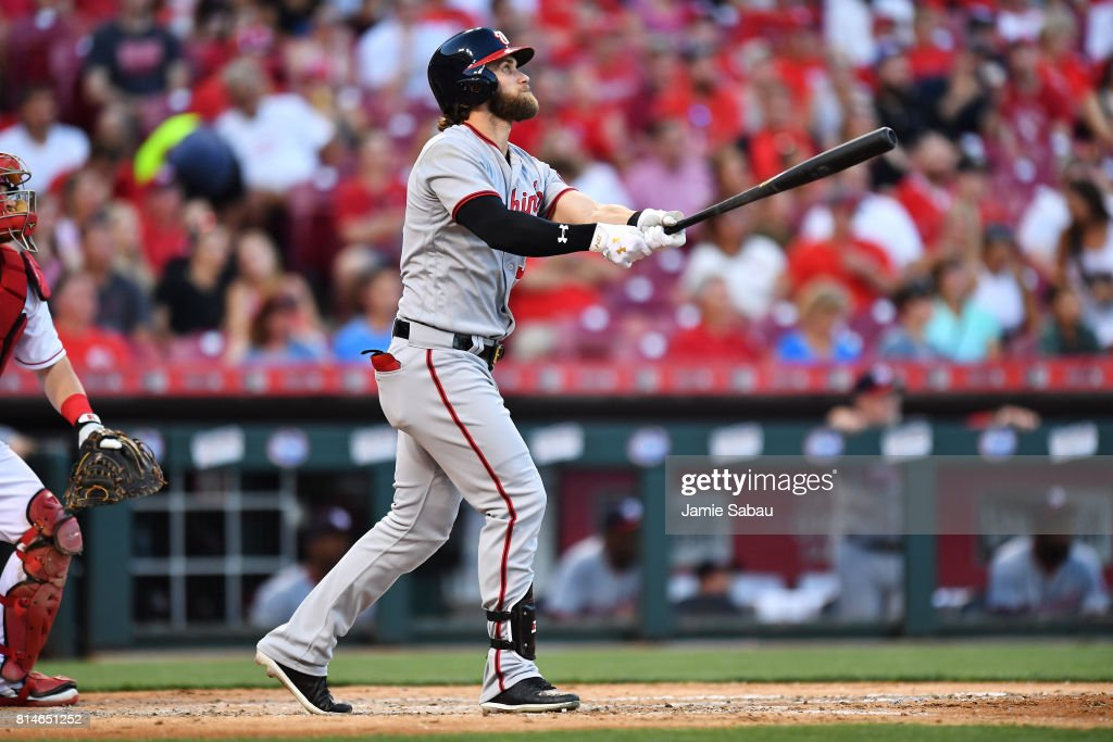 Bryce Harper #34 of the Washington Nationals hits a home run in the fifth inning against the Cincinnati Reds at Great American Ball Park on July 14, 2017 in Cincinnati, Ohio. Washington shut out Cincinnati 5-0.