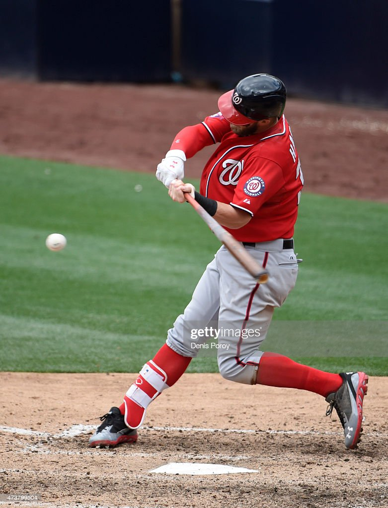 Bryce Harper #34 of the Washington Nationals hits a three-run home run during the seventh inning of a baseball game against the San Diego Padres at Petco Park May 17, 2015 in San Diego, California.