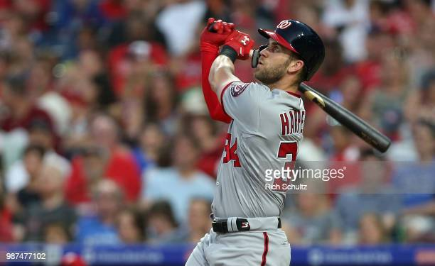 Bryce Harper of the Washington Nationals hits a threerun home run during the fourth inning of a game against the Philadelphia Phillies at Citizens...