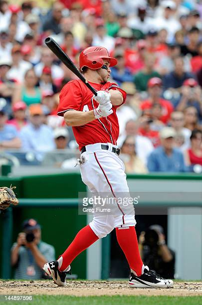 Bryce Harper of the Washington Nationals hits a triple in the third inning against the Baltimore Orioles during interleague play at Nationals Park on...
