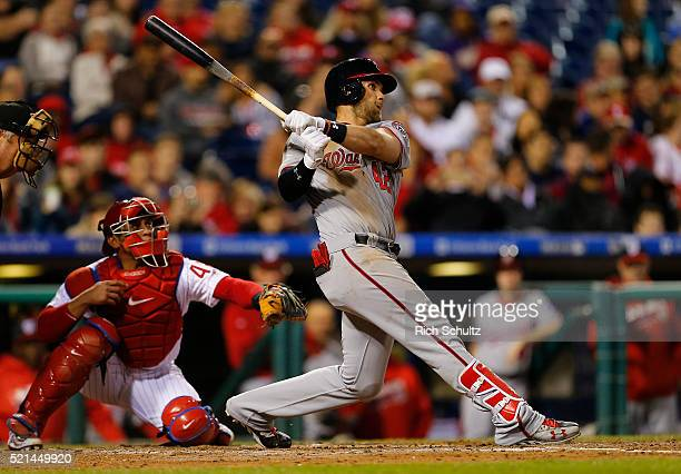 Bryce Harper of the Washington Nationals hits a two run home run during the sixth inning against the Philadelphia Phillies in an MLB game at Citizens...