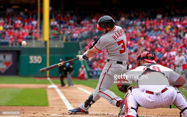 Bryce Harper of the Washington Nationals hits a tworun home run during the first inning of an MLB game against the Philadelphia Phillies at Citizens...