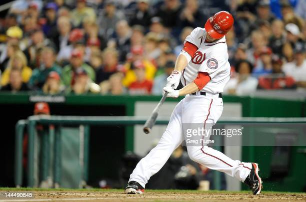 Bryce Harper of the Washington Nationals hits his first career home run in the third inning against the San Diego Padres at Nationals Park on May 14...
