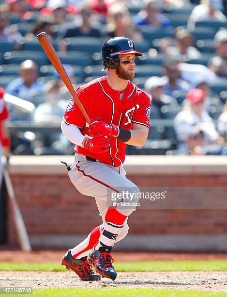 Bryce Harper of the Washington Nationals in action against the New York Mets at Citi Field on May 3 2015 in the Flushing neighborhood of the Queens...