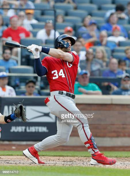 Bryce Harper of the Washington Nationals in action against the New York Mets at Citi Field on July 14 2018 in the Flushing neighborhood of the Queens...
