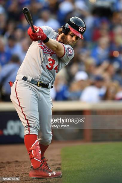 Bryce Harper of the Washington Nationals in the on deck circle during game three of the National League Divisional Series against the Chicago Cubs at...