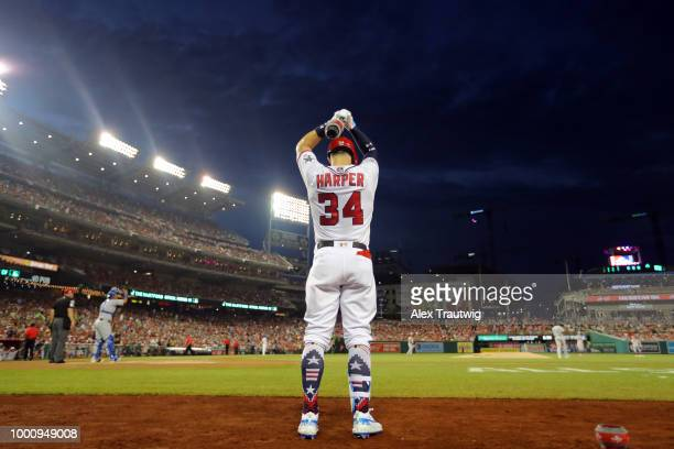 Bryce Harper of the Washington Nationals is seen in the ondeck circle during the 89th MLB AllStar Game at Nationals Park on Tuesday July 17 2018 in...