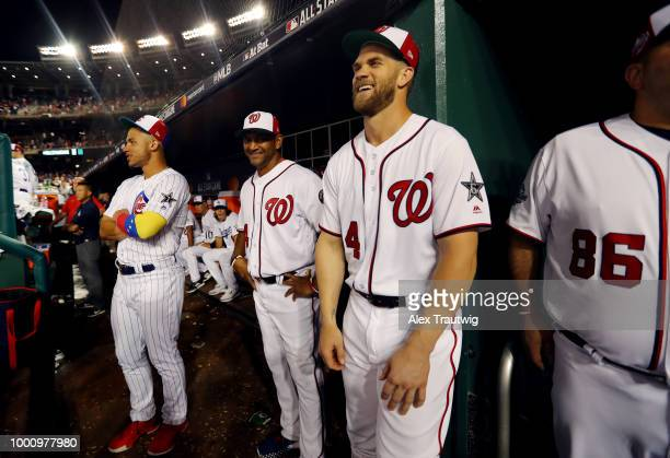 Bryce Harper of the Washington Nationals laughs in the dugout during the the 89th MLB AllStar Game at Nationals Park on Tuesday July 17 2018 in...