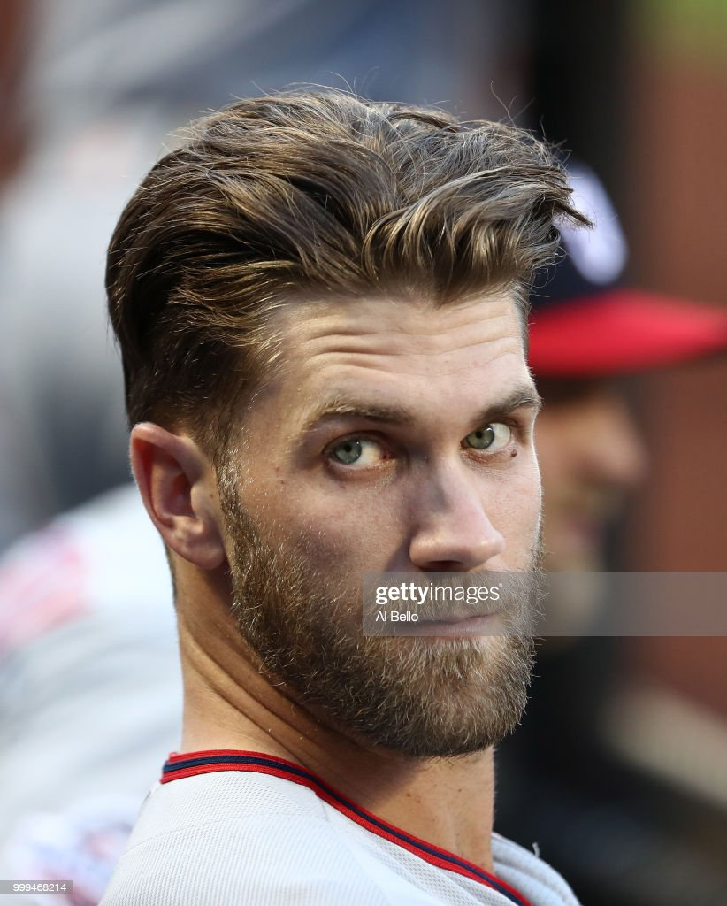 Bryce Harper #34 of the Washington Nationals looks on against the New York Mets during their game at Citi Field on July 12, 2018 in New York City.