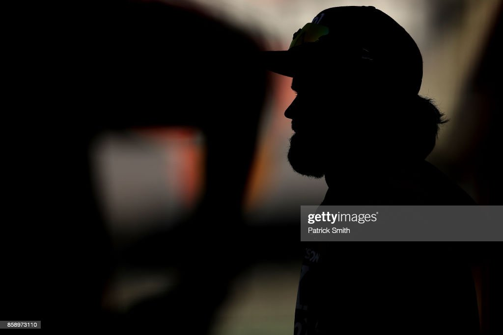 Bryce Harper #34 of the Washington Nationals looks on before playing against the Chicago Cubs in game one of the National League Division Series at Nationals Park on October 6, 2017 in Washington, DC.