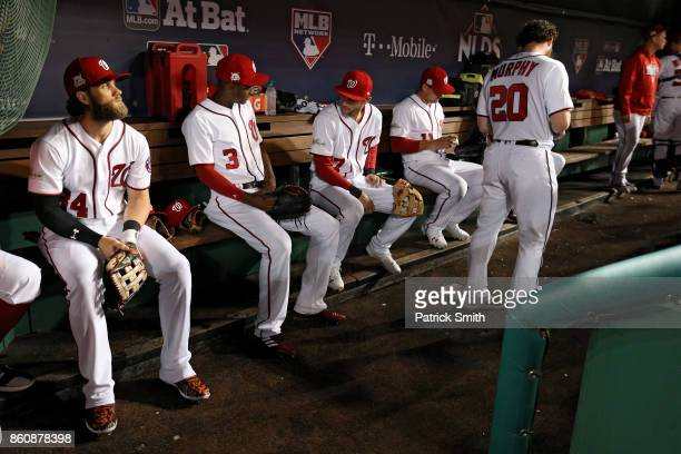 Bryce Harper of the Washington Nationals looks on before playing the Chicago Cubs in game five of the National League Division Series at Nationals...