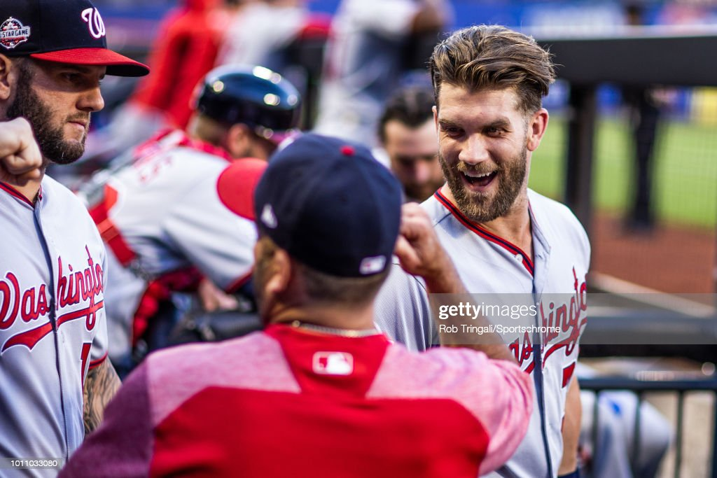 Bryce Harper #34 of the Washington Nationals looks on before the game against the New York Mets at Citi Field on July 12, 2018 in the Flushing neighborhood of the Queens borough of New York City.