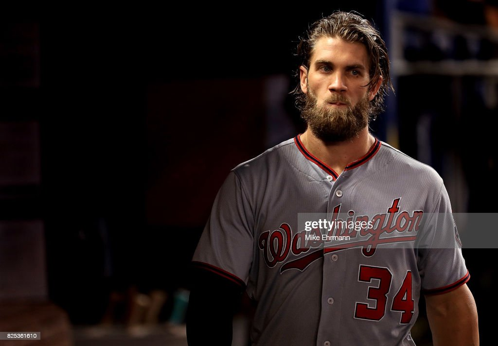 Bryce Harper #34 of the Washington Nationals looks on during a game against the Miami Marlins at Marlins Park on August 1, 2017 in Miami, Florida.