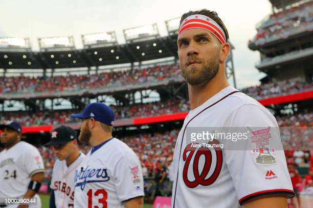 Bryce Harper of the Washington Nationals looks on during player introductions prior to the TMobile Home Run Derby at Nationals Park on Monday July 16...