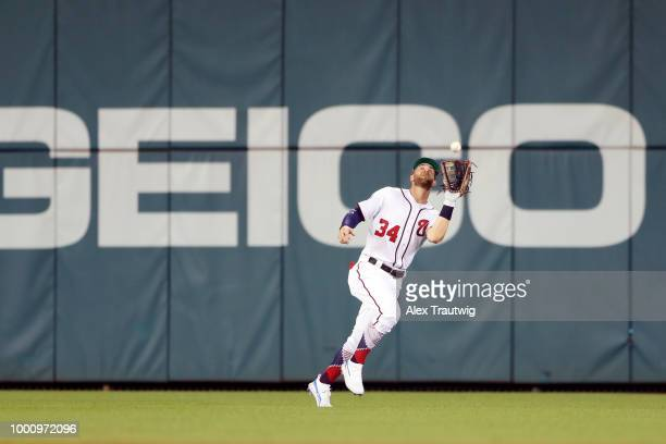 Bryce Harper of the Washington Nationals makes a running catch during the the 89th MLB AllStar Game at Nationals Park on Tuesday July 17 2018 in...