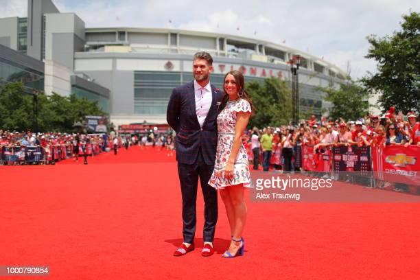 Bryce Harper of the Washington Nationals poses for a photo with his wife during the MLB Red Carpet Show at Nationals Park on Tuesday July 17 2018 in...