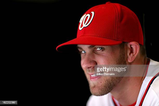 Bryce Harper of the Washington Nationals poses for a portrait during photo day at Space Coast Stadium on February 20 2013 in Viera Florida