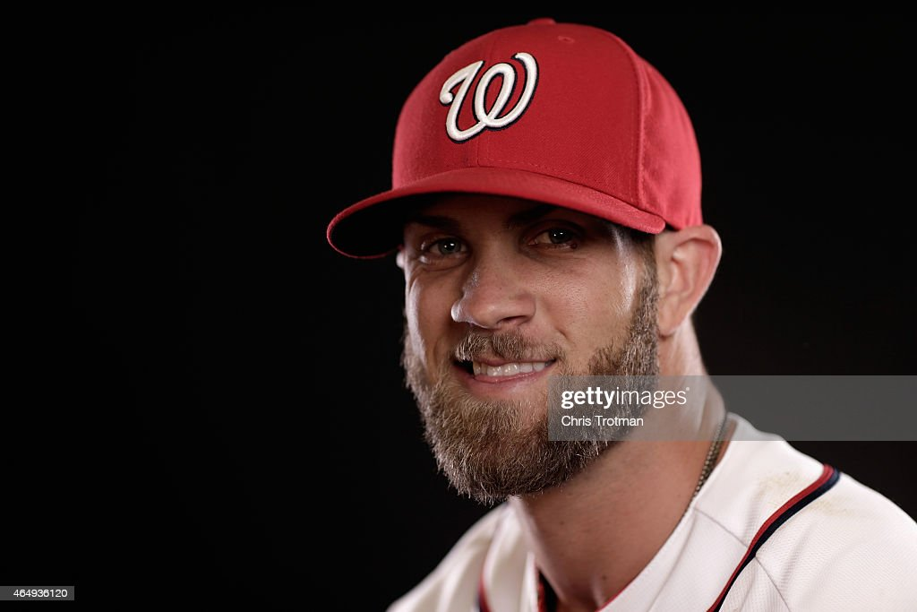 Bryce Harper #34 of the Washington Nationals poses for a portrait during photo day at Space Coast Stadium on March 1, 2015 in Viera, Florida.