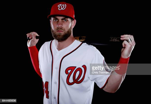 Bryce Harper of the Washington Nationals poses for a portrait during Washington Nationals Photo Day at The Ballpark of the Palm Beaches on February...