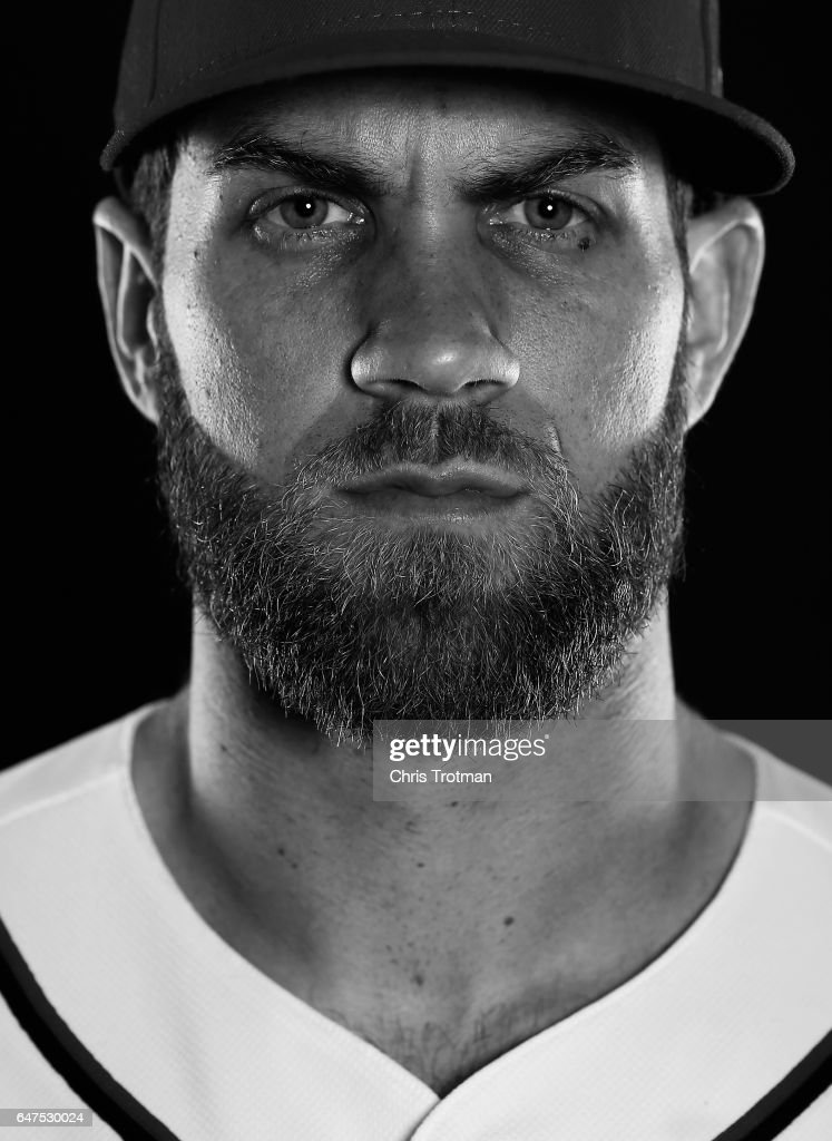Bryce Harper #34 of the Washington Nationals poses for a portrait during Washington Nationals Photo Day at The Ballpark of the Palm Beaches on February 23, 2017 in West Palm Beach, Florida.