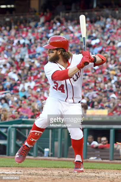Bryce Harper of the Washington Nationals prepares for a pitch during a baseball game against the Pittsburgh Pirates at Nationals Park on October 1...