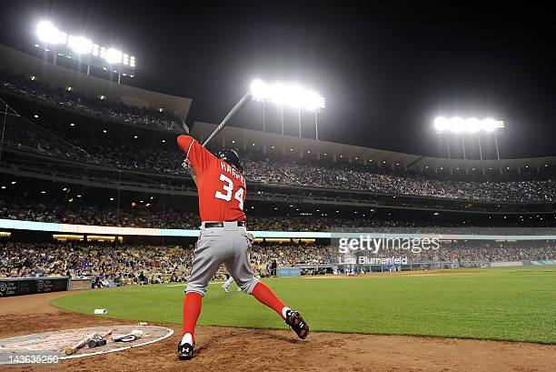 Bryce Harper of the Washington Nationals prepares to bat during his major league debut against the Los Angeles Dodgers at Dodger Stadium on April 28...