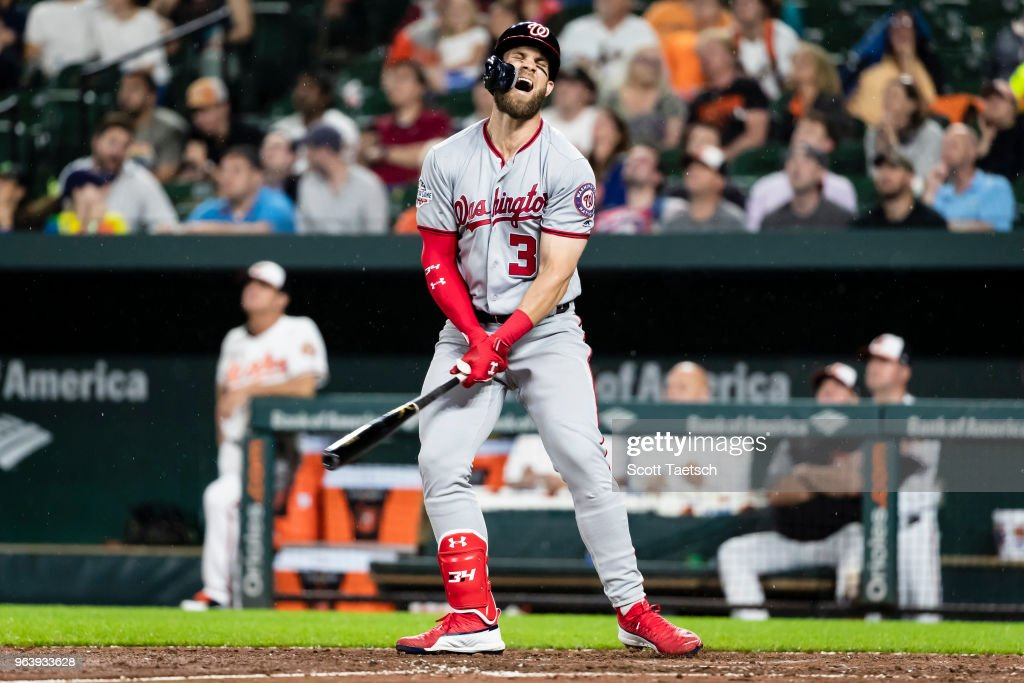 Bryce Harper #34 of the Washington Nationals reacts after flying out against the Baltimore Orioles during the eighth inning at Oriole Park at Camden Yards on May 30, 2018 in Baltimore, Maryland.