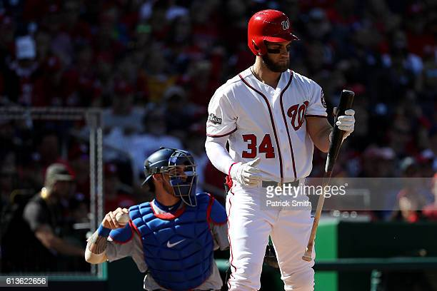 Bryce Harper of the Washington Nationals reacts after striking out for the second out of the third inning against the Los Angeles Dodgers during game...