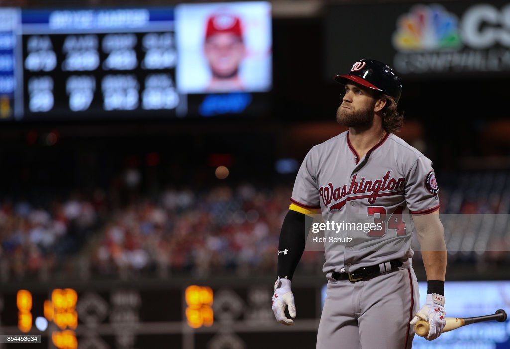 Bryce Harper #34 of the Washington Nationals reacts to striking out against the Philadelphia Phillies during the third inning of a game at Citizens Bank Park on September 26, 2017 in Philadelphia, Pennsylvania. The Phillies defeated the Nationals 4-1.