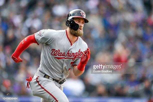Bryce Harper of the Washington Nationals runs out a ninth inning double against the Colorado Rockies at Coors Field on September 30 2018 in Denver...