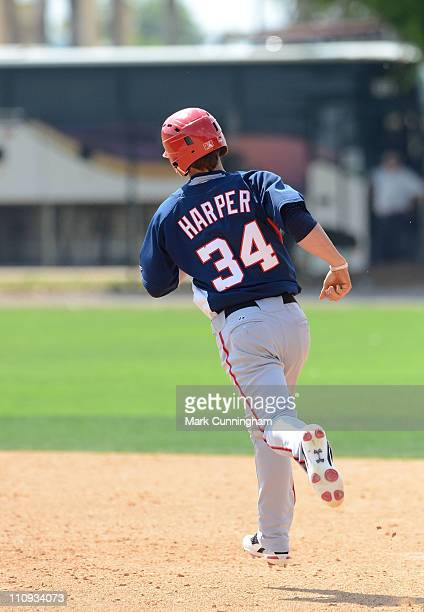 Bryce Harper of the Washington Nationals runs the bases against the Detroit Tigers during the minor league spring training game at the TigerTown...