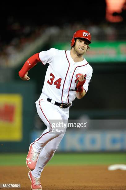 Bryce Harper of the Washington Nationals runs the bases against the Miami Marlins at Nationals Park on August 10 2017 in Washington DC