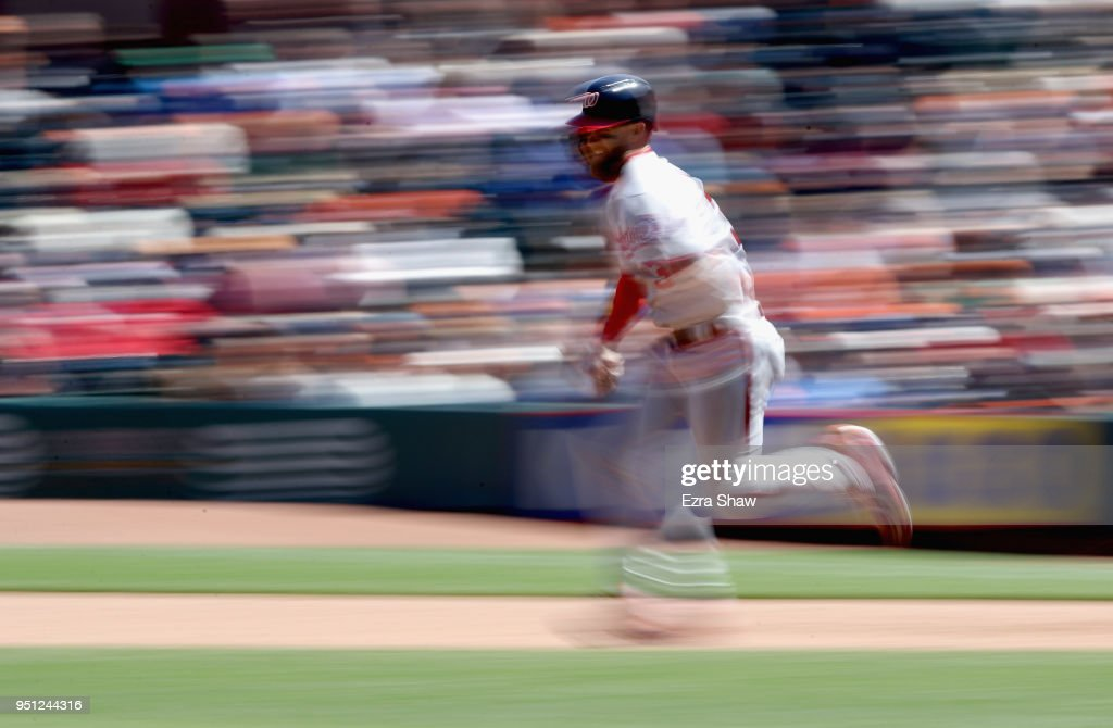 Bryce Harper #34 of the Washington Nationals runs to second base in the sixth inning against the San Francisco Giants at AT&T Park on April 25, 2018 in San Francisco, California.