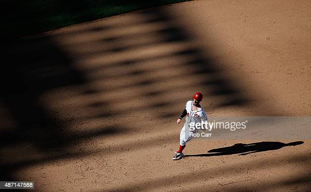 Bryce Harper of the Washington Nationals runs to third base in the eighth inning of the Nationals 84 win over the Atlanta Braves at Nationals Park on...