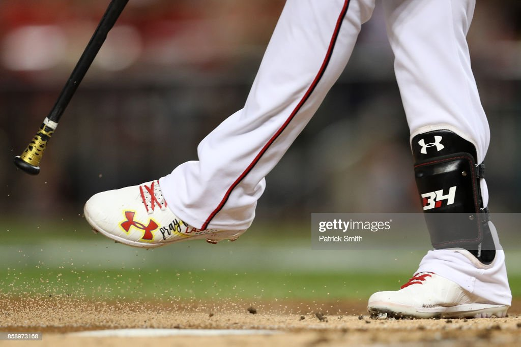 Bryce Harper #34 of the Washington Nationals shoes are seen against the Chicago Cubs in game one of the National League Division Series at Nationals Park on October 6, 2017 in Washington, DC.