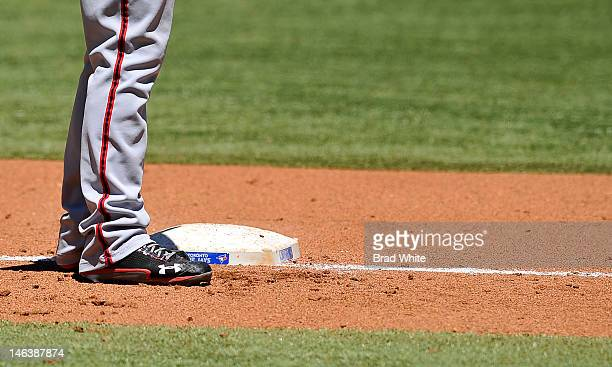 Bryce Harper of the Washington Nationals stands at third base during interleague MLB game action against the Toronto Blue Jays June 13 2012 at Rogers...