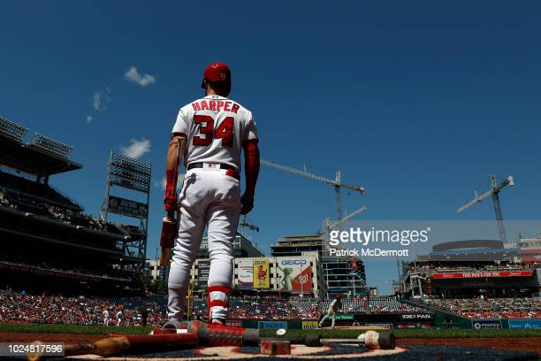 Bryce Harper of the Washington Nationals stands on deck in the third inning against the Philadelphia Phillies at Nationals Park on August 23 2018 in...